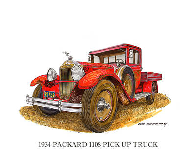 Classic Truck Drawing - 1934 Packard Pick Up Truck by Jack Pumphrey