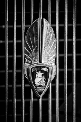 1934 Photograph - 1934 Plymouth Emblem 2 by Jill Reger