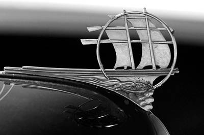 1934 Plymouth Hood Ornament Black And White Print by Jill Reger