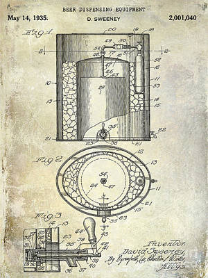 Budweiser Photograph - 1935 Beer Equipment Patent  by Jon Neidert
