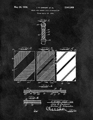 1936 Barber Pole Blueprint Print by Dan Sproul