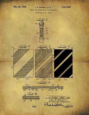 1936 Barber Pole Patent Print by Dan Sproul