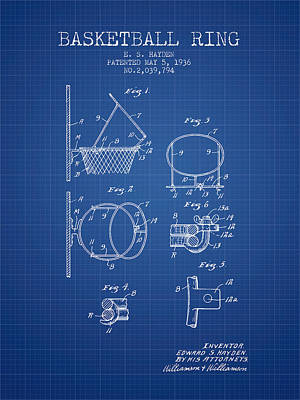 Sports Drawing - 1936 Basketball Ring Patent - Blueprint by Aged Pixel