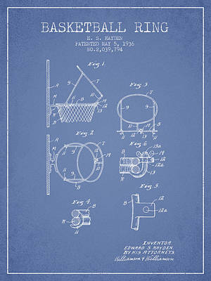 Sports Drawing - 1936 Basketball Ring Patent - Light Blue by Aged Pixel