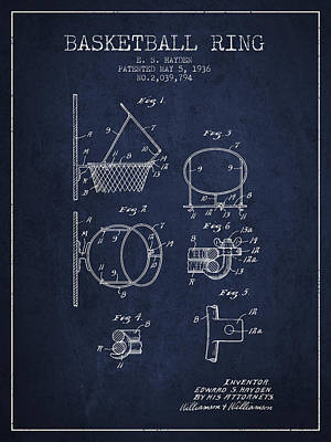 Sports Drawing - 1936 Basketball Ring Patent - Navy Blue by Aged Pixel