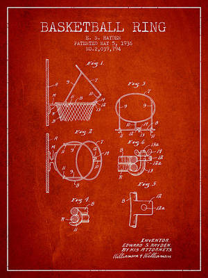 Sports Drawing - 1936 Basketball Ring Patent - Red by Aged Pixel