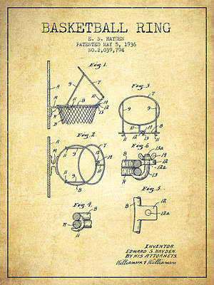 Sports Drawing - 1936 Basketball Ring Patent - Vintage by Aged Pixel