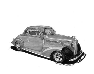Street Rod Drawing - 1936 Chevrolet Coupe by Jack Pumphrey