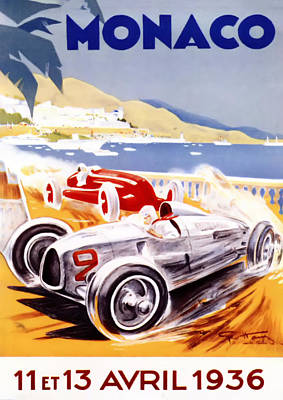 Bentley Digital Art - 1936 F1 Monaco Grand Prix  by Georgia Fowler