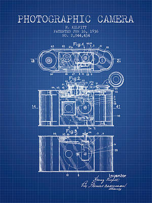 1936 Photographic Camera Patent - Blueprint Print by Aged Pixel