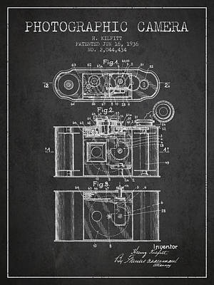 Film Camera Drawing - 1936 Photographic Camera Patent - Charcoal by Aged Pixel