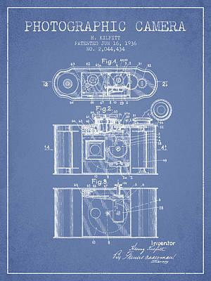1936 Photographic Camera Patent - Light Blue Print by Aged Pixel