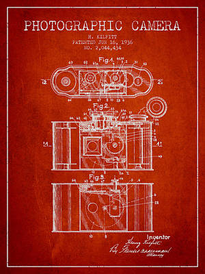 Camera Drawing - 1936 Photographic Camera Patent - Red by Aged Pixel