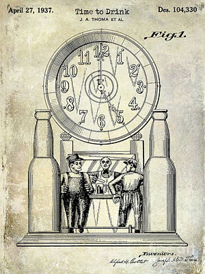 Budweiser Photograph - 1937 Beer Clock Patent by Jon Neidert