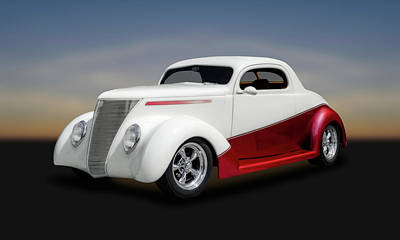 Ford Street Rod Photograph - 1937 Ford Coupe  -  37fdcp650 by Frank J Benz