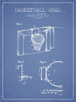 1938 Basketball Goal Patent - Light Blue Print by Aged Pixel