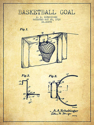 Player Drawing - 1938 Basketball Goal Patent - Vintage by Aged Pixel