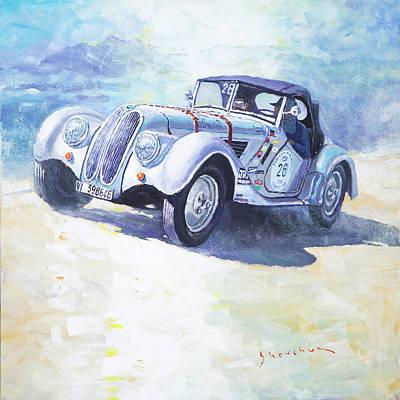 1938 Painting - 1938 Bmw 328 Roadster Caracciola Gp 2016 Winner by Yuriy Shevchuk