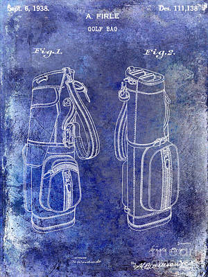 1938 Golf Bag Patent Blue Print by Jon Neidert