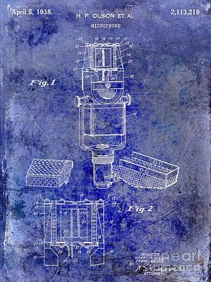 1938 Photograph - 1938 Microphone Patent Drawing Blue by Jon Neidert