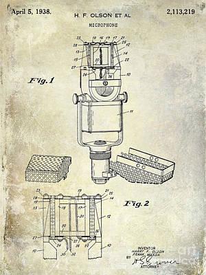 1938 Photograph - 1938 Microphone Patent Drawing by Jon Neidert