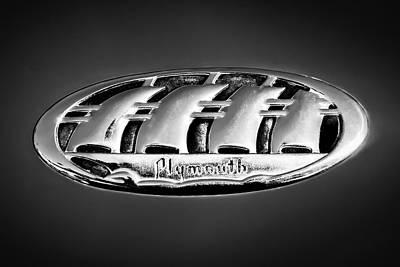 Photograph - 1938 Plymouth Sedan Emblem -0458bw by Jill Reger