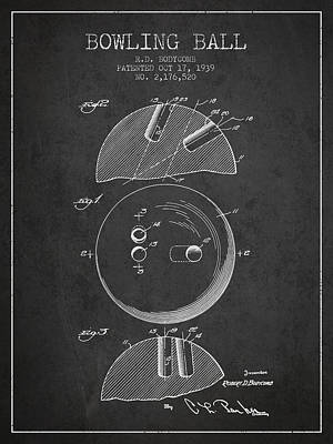1939 Bowling Ball Patent - Charcoal Print by Aged Pixel