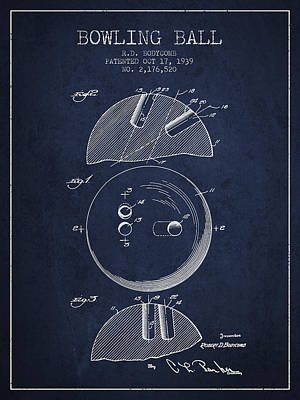 1939 Bowling Ball Patent - Navy Blue Print by Aged Pixel