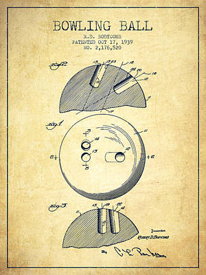 1939 Bowling Ball Patent - Vintage Print by Aged Pixel