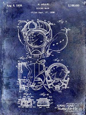 1939 Dive Mask Blue Print by Jon Neidert