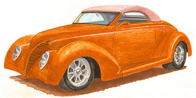 Street Rod Drawing - 1939 Ford Custom Convertible by Jack Pumphrey
