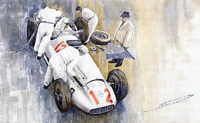 Vintage Sports Cars Painting - 1939 German Gp Mb W154 Rudolf Caracciola Winner by Yuriy  Shevchuk
