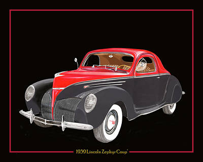 1939 Lincoln Zephyr Coupe Print by Jack Pumphrey
