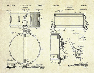Drum Digital Art - 1939 Slingerland Snare Drum Patent Sheets by Gary Bodnar