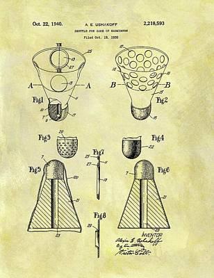 1940 Badminton Shuttle Patent Print by Dan Sproul