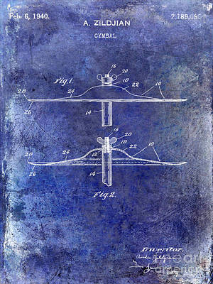Beaters Photograph - 1940 Cymbal Patent Blue by Jon Neidert
