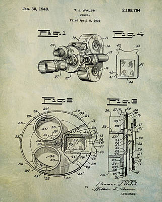 1940 Tj Walsh Film Camera Patent Print by Digital Reproductions