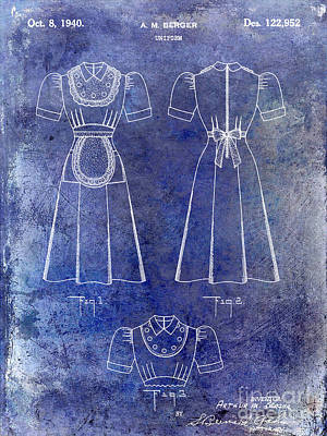 1940 Waitress Uniform Patent Blue Print by Jon Neidert