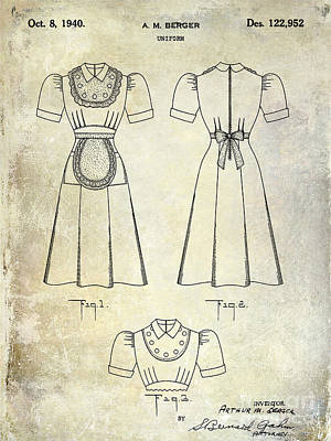 Burgers Photograph - 1940 Waitress Uniform Patent by Jon Neidert