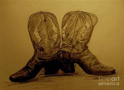 Ledge Drawing - 1940's Viintage Cowboy Boots by Susan Gahr