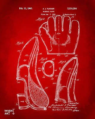 Baseball Digital Art - 1941 Baseball Glove Patent - Red by Nikki Marie Smith