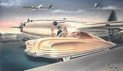 Future Dreaming Painting - 1941 Chrysler Styling Concept Rendering Gil Spear by ArtFindsUSA