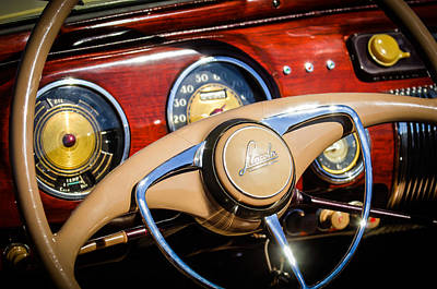1941 Photograph - 1941 Lincoln Continental Cabriolet V12 Steering Wheel by Jill Reger