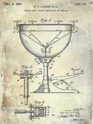 1941 Ludwig Drum Patent  Print by Jon Neidert