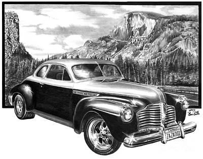 Yosemite National Park Drawing - 1941 Roadmaster - Half Dome by Peter Piatt