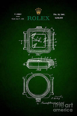 Historic Home Drawing - 1941 Rolex Watch Patent 3 by Nishanth Gopinathan
