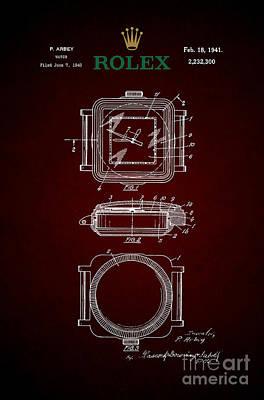 1941 Rolex Watch Patent 4 Print by Nishanth Gopinathan