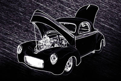 Street Rod Drawing - 1941 Willys Coope Classic Car Drawing 1242.01 by M K  Miller