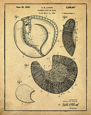 1942 Baseball Mitt Patent In Sepia Print by Bill Cannon