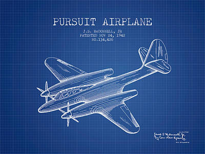 Transportation Drawing - 1942 Pursuit Airplane Patent - Blueprint 03 by Aged Pixel
